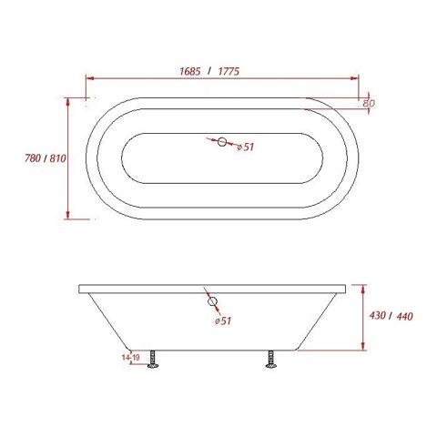 baignoire acrylique design encastrer newton round