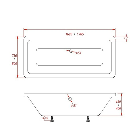 Baignoire acrylique design encastrer newton square longueur 180cm for Longueur d une baignoire standard