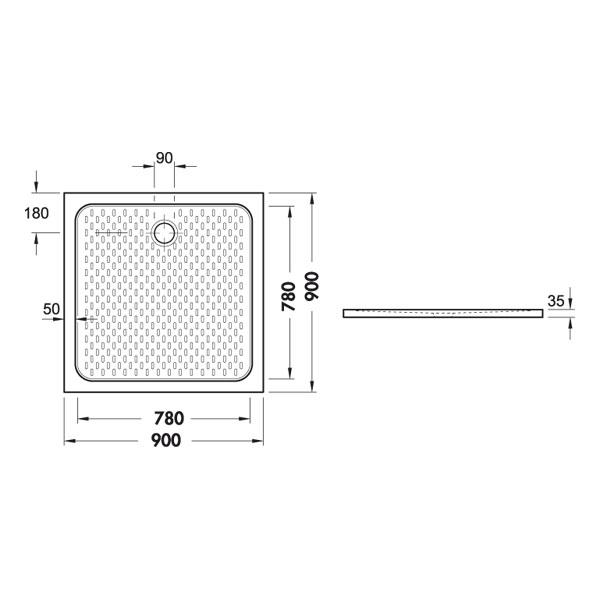 receveur de douche carr pour personne mobilite r duite 90 x 90 cm. Black Bedroom Furniture Sets. Home Design Ideas