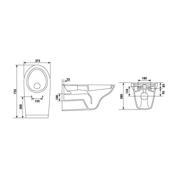 cuvette wc suspendue rallong e avec abattant wc. Black Bedroom Furniture Sets. Home Design Ideas