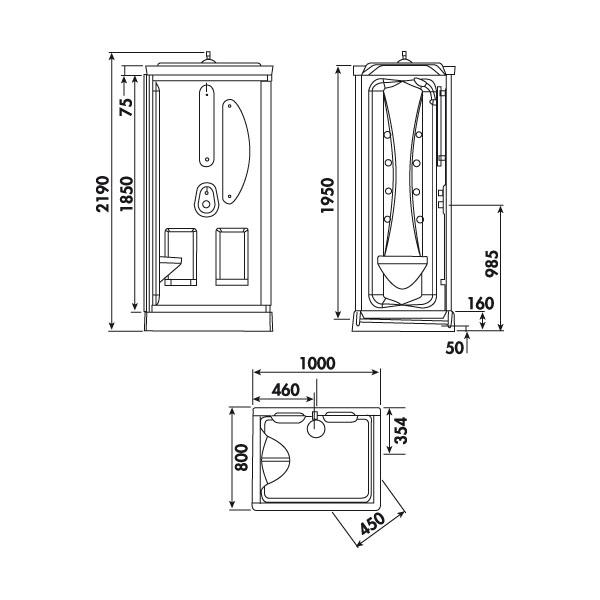 cabine de douche hydromassante leda odyss e 100x80 cm leda. Black Bedroom Furniture Sets. Home Design Ideas