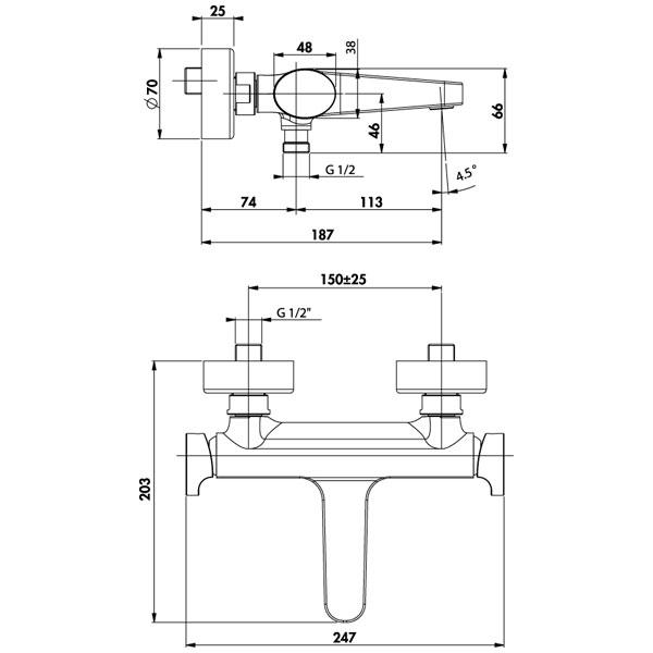 robinet mitigeur thermostatique bain douche pure chrome r hammel. Black Bedroom Furniture Sets. Home Design Ideas
