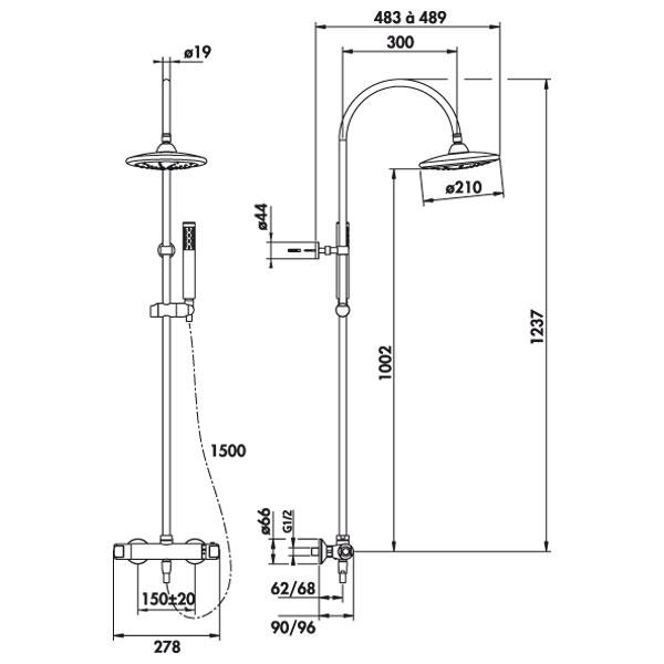 colonne de douche thermostatique therm neo2 douche de t te ronde r hammel. Black Bedroom Furniture Sets. Home Design Ideas