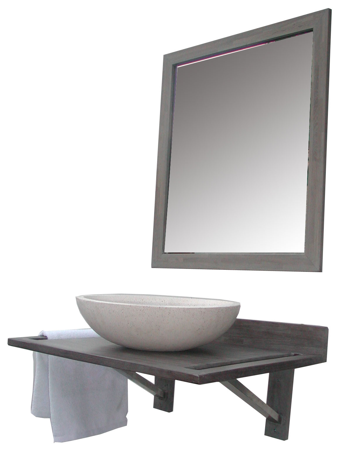 Ensemble meuble zenia zenith 70 cm miroir tablette for Miroir 70 cm