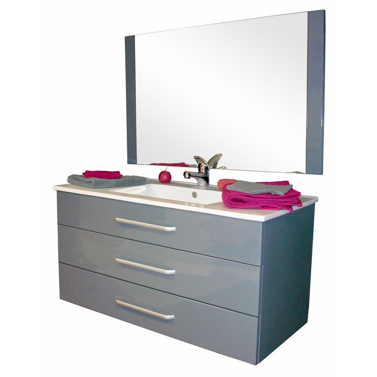 Meuble lonia gris 100 cm - Meuble de salle de bain 90 cm ...