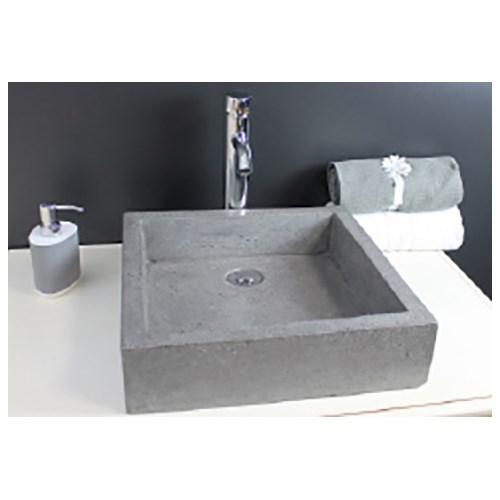 vasque carré timbre grise, à poser - plomberie.fr