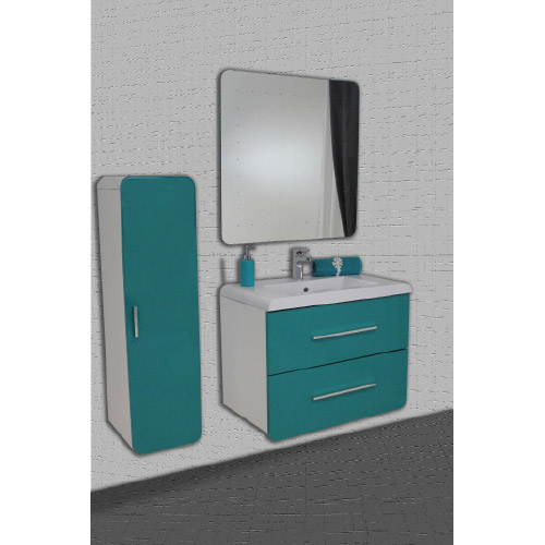 meuble gino bleu lagon miroir simple 80 cm. Black Bedroom Furniture Sets. Home Design Ideas