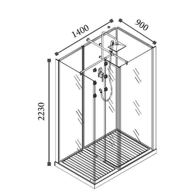 Cabine de douche hydromassante rectangulaire tahl 90x140 cm - Cabine douche rectangulaire ...