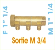 Collecteur nourrice MF1''1/4 3xM3/4 Ent60mm