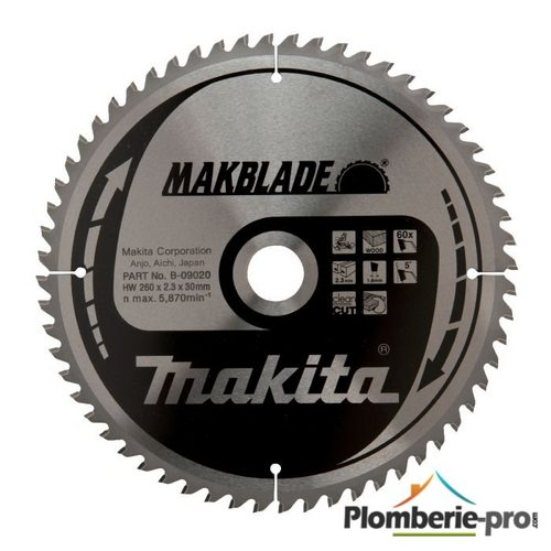 Lame Makblade 60 dents D=260 d=30 B=2,3