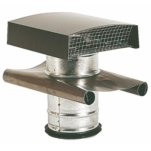 Sortie de toiture vmc atlantic diam125mm gris chapeau alu fourreau galva - Plomberie.fr