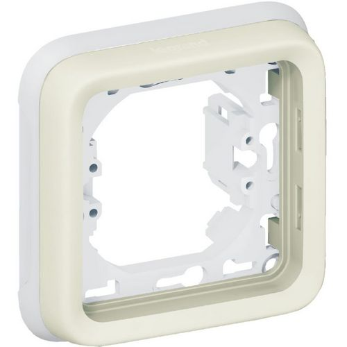 Support plaque blanc 1 poste Plexo composable IP 55
