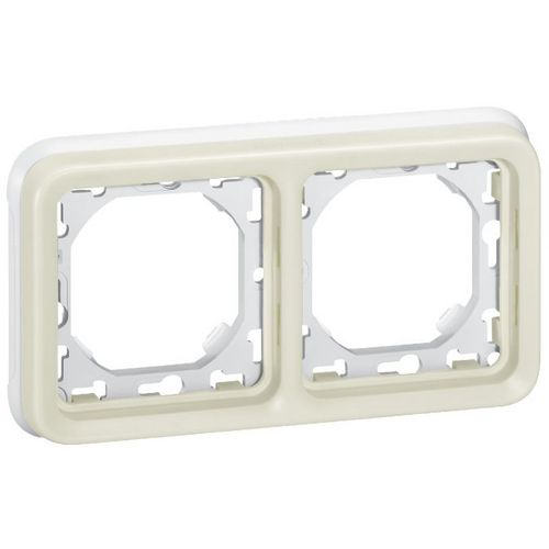 Support plaque blanc 2 postes Plexo composable IP 55