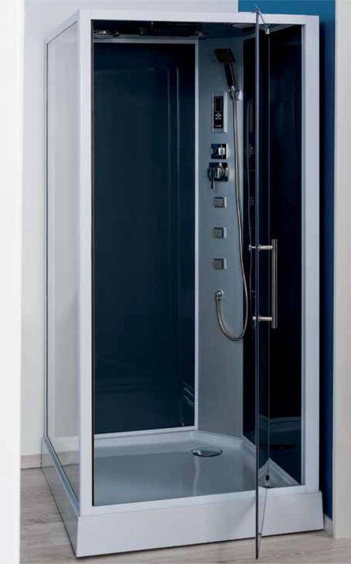 Cabine de douche hydromassante niky grise 90x90cm - Plomberie.fr